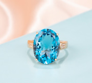 Solid Oval Cut 12ct Brazil Topaz Natural Diamond 18k Rose Gold Ring Jewelry
