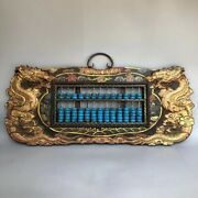 China Wood Lacquerware Color Drawing Dragon Turquoise Frame Abacus Wall Hanging