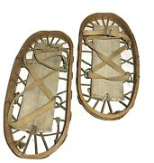 1943 England Military Pair Of Rustic Wood Rope Canvas Snow Shoes L And Ah Wwii