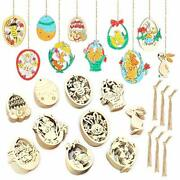 60 Pieces Unfinished Wooden Ornaments Easter Eggs Bunny Chicken Flower Cutouts