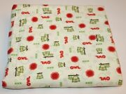 2.44 Yards Owl Flannel Material Joann Fabric Red Green White Bubbles Suns