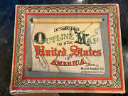 1895 Dissected Outline Map Puzzle Of The United States Milton Bradley