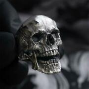 Skull Jewelry Mens Ring Silver Antique Style Black Magic Protection