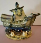 Vintage Mid Century Pirate Ship Nautical Tv Lamp Ceramic Chalkware 12and039and039