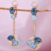 Gemstone Earrings Swiss And London Blue Topaz Russian Solid Rose Gold 585/14k Nwt