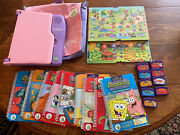 Leap Frog Leap Pad Learning System Purple And Pink Lot 9 Cartridges And Books Puzzle