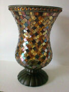 Partylite Global Fusion Mosaic Tiles Glass Hurricane Candle Holder 12 P8366