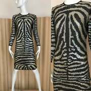 Rare 1970s Halston 100 Silk Hand Embroidered Evening Gown In Animal Print