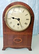 Antiques. Smith And Son Trafalgar Mantle Clock Inlad Wood Case Made In England.