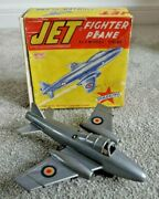 Vintage Mettoy Jet Fighter Plane 1950and039s Friction Toy 2030 Rare Boxed K472