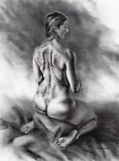 Nude Female Original Charcoal Drawing Mounted Naked Woman Sitting On Sheets Bin