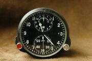Soviet Military Aviation Clock Achs-1 With Stopwatch From Mig Su Vintage Ussr