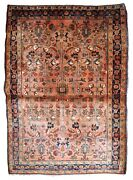Handmade Antique Oriental Rug 3.7and039 X 5.4and039 113cm X 164cm 1920s - 1b835