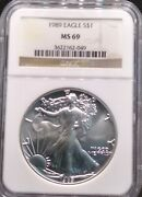 1989 American Silver Eagle Ms69 Ngc