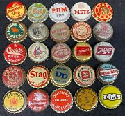 25 Different Vintage Beer Cork Lined Bottle Caps Crowns - Old Style Stag Etc