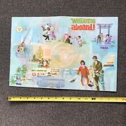 Continental Airlines 1950s Welcome Aboard Us Map Folder Hawaii Seat Pocket Nice