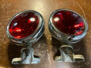 Vintage Car Truck Lights Red Spotlights W/ Brackets 1940and039s 50and039s Rat Hot Rod