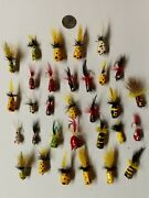 Fly Fishing Flies 31 Poppers Vintage Hand Made Folk Art Asst No Whiskers