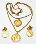 Signed Miriam Haskell Ancient Gold Coins Necklace And Earrings