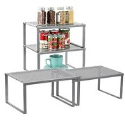 Cabinet Shelf Organizers, Set Of 4 Expandable Stackable Kitchen Cabinet And