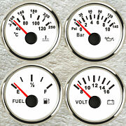 52mm 4 Gauge Set Fuel Water Temp Volts Oil Pressure For Car Marine Red Led White