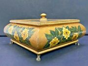 Vintage Rare Hand Carved Wooden Floral Painted Dry Fruit Box With Glass Lid