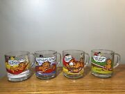 Four 1978 Mcdonalds Garfield Glass Glasses Lot Mugs Complete Collectible Mint