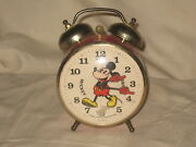 Bradley Walt Disney Mickey Mouse Wind Up Alarm Clock Two Bells Made In Usa As-is
