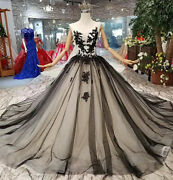 Victorian Gothic Black Wedding Dresses Lace Appliques Forest Vintage Ball Gowns