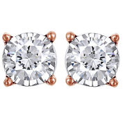 3/4cttw Round Cut Diamond Stud Earrings In 14k Rose Gold Christmas Special