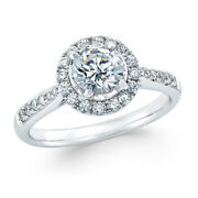 7/8 Ctw Diamond Halo Engagement Ring In 14k White Gold Christmas Special