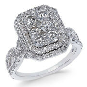 1-5/8ct Diamond Multi-halo Engagement Ring 14k White Gold For Christmas Special