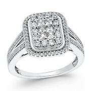 1 Ctw Diamond Square Cluster Engagement Ring In 14k White Gold Christmas Special