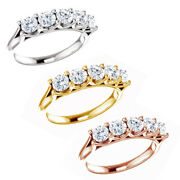 1.00 Ct Round Cut Natural Diamond 14k Gold Five Stone Engagement Ring Womenand039s