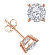 1 Cttw Diamond Halo Two-level Stud Earrings 14k Rose Gold Christmas Special