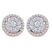 0.5 Ct Natural Diamond Cluster Stud Earrings 14k Rose Gold Christmas Special