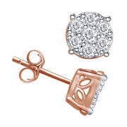 3/4 Ctw Diamond Cluster Stud Earrings In 14k Rose Gold Christmas Special