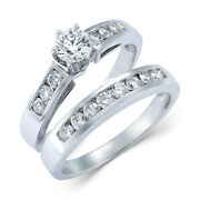 9/10 Ctw Diamond Engagement Ring Bridal Set In 14k White Gold Christmas Special