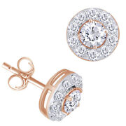 1 Ctt Round Natural Diamond Halo Stud Earrings 14k Rose Gold Christmas Special