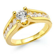 1.00 Ctw Certified Diamond Channel Engagement Ring 14k Yellow Gold Christmas Spl