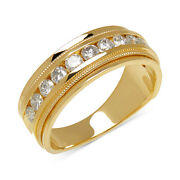 1 Ctw Menand039s Diamond Milgrain Band In 14k Yellow Gold Christmas Special