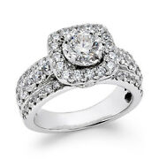 Round Natural Diamond Halo Engagement Ring 2 Ct 10k White Gold Christmas Special