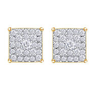 3/8 Ctt Natural Diamond Square Cluster Stud Earrings In14k Yellow Gold Christmas