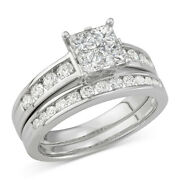1-1/5 Cttw Diamond Quad Bridal Set Ring In 14k White Gold Christmas Special