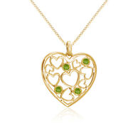 18k Yellow Gold Over Round Amethyst Heart Pendent Chain Necklace Valentine Gifts