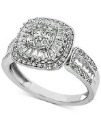 1 Ct Diamond Baguette Cluster Engagement Ring 14k White Gold Christmas Special