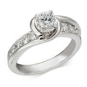 3/4 Ct Diamond Swirl Engagement Ring 14k White Gold For Christmas Special