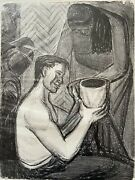 Vintage 1950s Modernist Lithograph Bw Tropical Mexican Potter - S. Mower