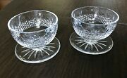 Set Of Two 2 Waterford Crystal Colleen Footed Dessert Bowl 3 Cut Starburst