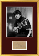Vintage 1960s George Harrison Signed Autograph Display, The Beatles. Beckett Bas
